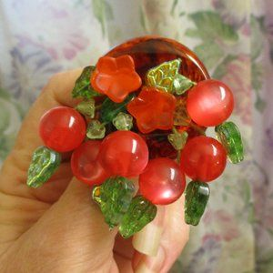 Bakelite Lucite Czech Glass Cherry Bunch Brooch